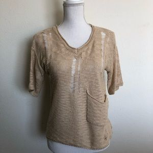 Sweaters - Beige colored distressed sweater